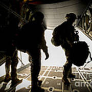 U.s. Army Green Berets Wait To Jump Poster