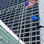 Us Bank With Flags Poster