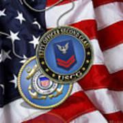 U. S. Coast Guard Petty Officer Second Class - Uscg Po2 Rank Insignia Over Us Flag Poster