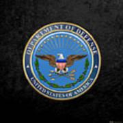 U. S. Department Of Defense - D O D Emblem Over Black Velvet Poster