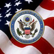 U. S. Department Of State - Dos Emblem Over U.s. Flag Poster