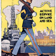 U.s. Marines Active Service On Land And Sea Poster