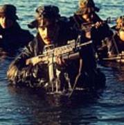 Us Navy Seal Team Emerges From Water Poster by Everett