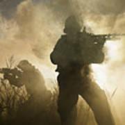 U.s. Navy Seals During A Combat Scene Poster
