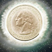 Us One Quarter Dollar Coin 25 Cents Poster