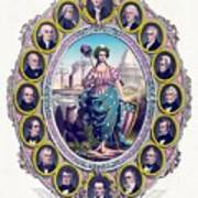 Us Presidents And Lady Liberty  Poster