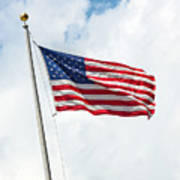Usa Flag On Blue Sky With Clouds Poster
