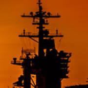 Uss Carl Vinson At Sunset 2 Poster