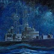 Uss Truxtun Dlgn-35 A Nuclear-powered Cruiser At Sea At Night Under The Milky Way Poster