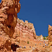 Utah Seventh Graders Climbing Switchbacks On Wall Street, Navajo Trail In Bryce National Park, Utah Poster