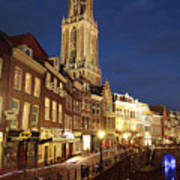 Utrecht Cathedral At Night Poster