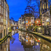 Utrecht From The Bridge By Night Poster