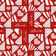 Valentine 4 Square Quilt Block Poster