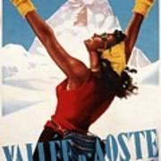 Vallee D'aoste - Aosta Valley, Italy - Retro Travel Poster - Vintage Poster Poster