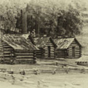 Valley Forge Barracks In Sepia Poster