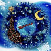 Van Gogh's Starry Night Wreath Poster