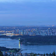 Vancouver Bc Cityscape During Blue Hour Dawn Poster