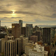 Vancouver Bc Cityscape During Sunset Poster