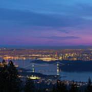 Vancouver Bc Cityscape Lions Gate Bridge Sunset Poster