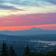 Vancouver Bc Cityscape With Cascade Range Morning View Poster