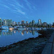 Vancouver Bc Skyline Along Stanley Park Seawall Poster