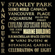 Vancouver Canada Famous Landmarks Poster