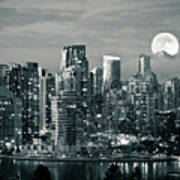 Vancouver Moonrise Poster by Lloyd K. Barnes Photography