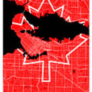 Vancouver Street Map - Vancouver Canada Road Map Art On Canada Flag Symbols Poster