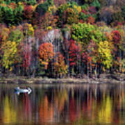 Vanishing Autumn Reflection Landscape Poster