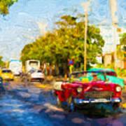 Vintage Cars In Varadero Poster