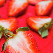 Various Sliced Strawberries Close Up Poster