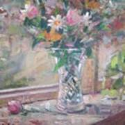 Vase And Flowers In Window Sill. Poster