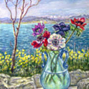 Vase Of Anemones With View Of Nafplio Poster