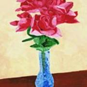 Vase Of Red Roses Poster