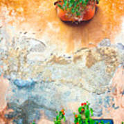 Vase On Decayed Wall Poster