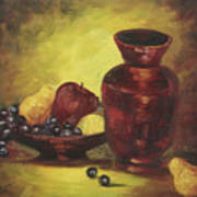 Vase With Fruit Bowl Poster