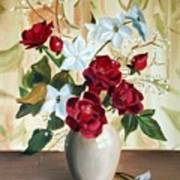 Vase with Red and White Flowers Poster
