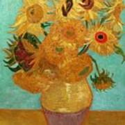 Vase With Twelve Sunflowers Poster