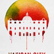 Vatican City Landmark Red Poster