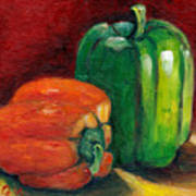Vegetable Still Life Green And Orange Pepper Grace Venditti Montreal Art Poster
