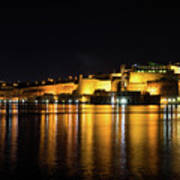 Velvety Reflections - Valletta Grand Harbour At Night Poster
