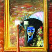 Venetian Girl Looking In Mirror Poster