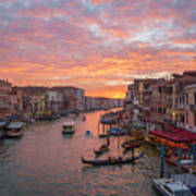 Venice At Sunset - Italy Poster