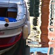 Venice Boat Reflection Poster