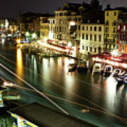 Venice Canal At Night Poster by Patrick English