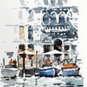 Venice Canal With Barges Poster