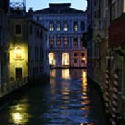 Venice Canals At Night Poster