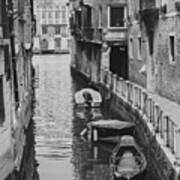 Venice Docked Boats Poster