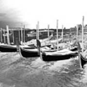 Venice Gondolas Silver Poster