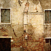 Venice Italy Crumbling Stucco Wall Poster